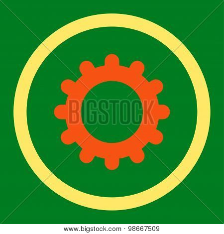 Gear flat orange and yellow colors rounded vector icon