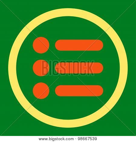Items flat orange and yellow colors rounded vector icon
