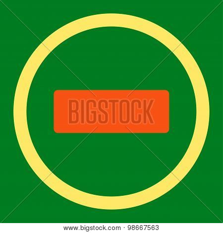 Minus flat orange and yellow colors rounded vector icon