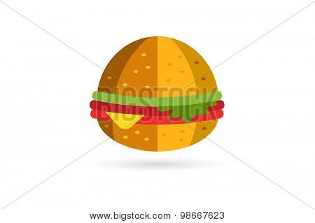 Hamburger icon isolated on white. Fast food restaurant object. Hamburger logo. Cheese, tomato, salad, food ingredients, take out food