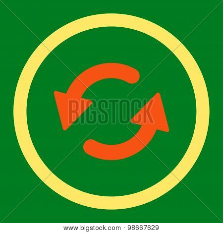 Refresh Ccw flat orange and yellow colors rounded vector icon