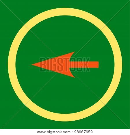 Sharp Left Arrow flat orange and yellow colors rounded vector icon