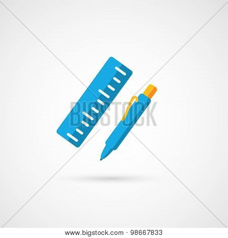 Pencil with ruler. Vector icon.