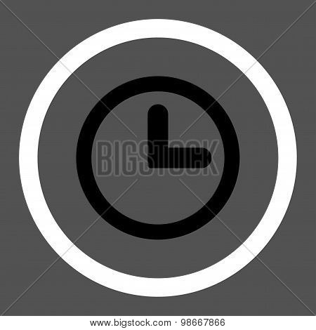 Clock flat black and white colors rounded vector icon
