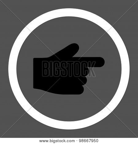 Index Finger flat black and white colors rounded vector icon