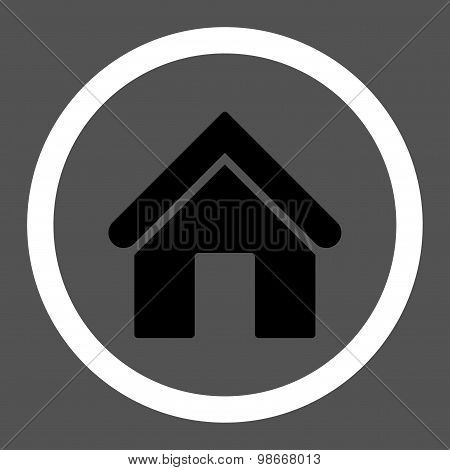 Home flat black and white colors rounded vector icon