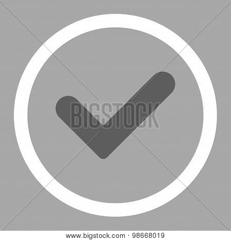 Yes flat dark gray and white colors rounded vector icon