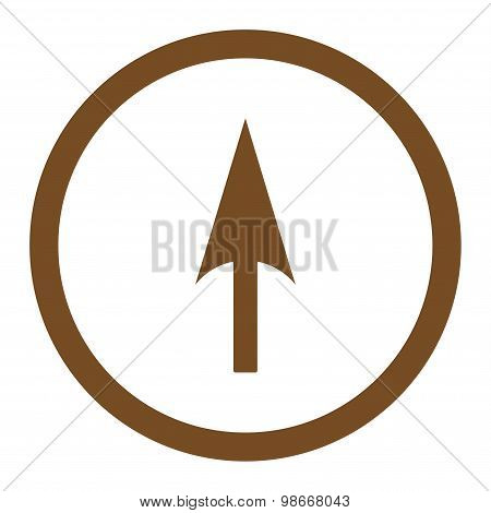 Arrow Axis Y flat brown color rounded vector icon