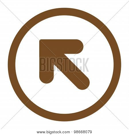 Arrow Up Left flat brown color rounded vector icon