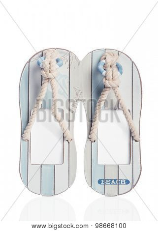Flip flops on a white background with drop shadow