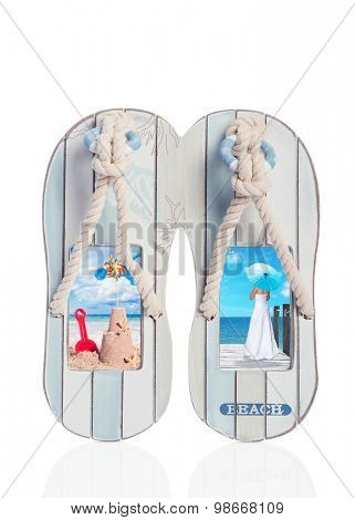 Wooden flip flop decoration with beach scenes