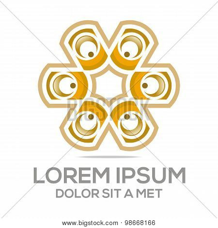 Abstract union circle design logo vector