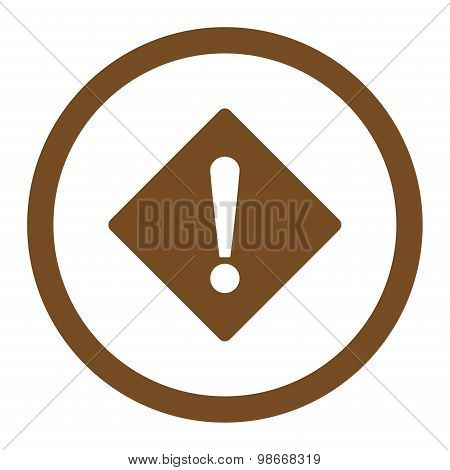 Error flat brown color rounded vector icon