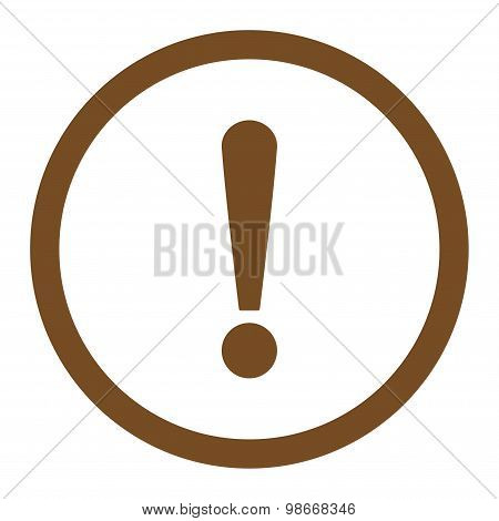 Exclamation Sign flat brown color rounded vector icon