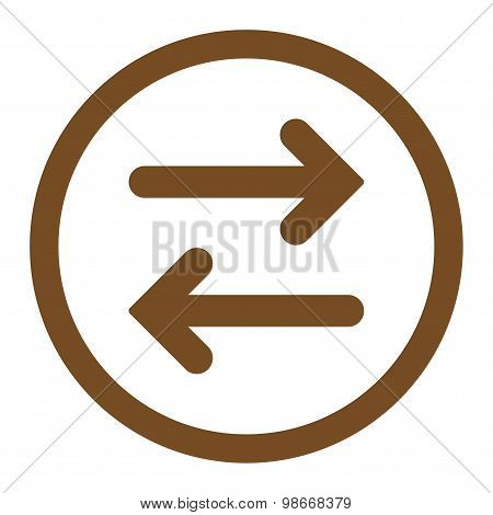 Flip Horizontal flat brown color rounded vector icon