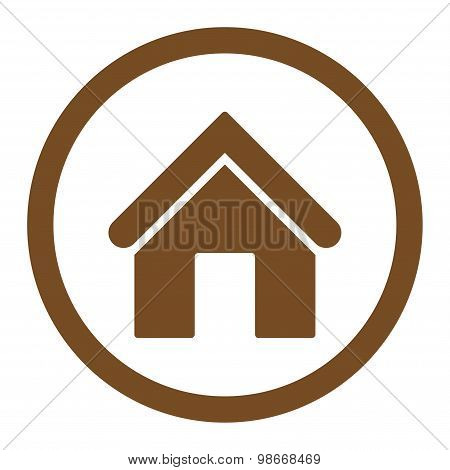 Home flat brown color rounded vector icon