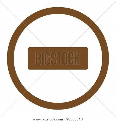 Minus flat brown color rounded vector icon
