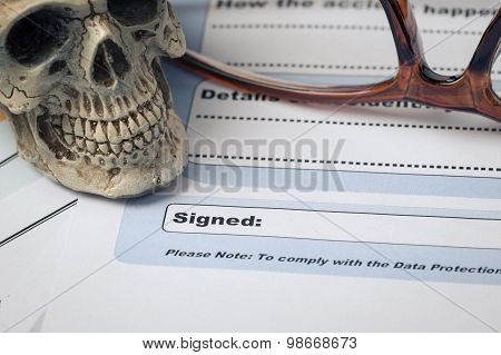 Signature Field On Document With Pen And Skull Signed Here; Document Is Mock-up