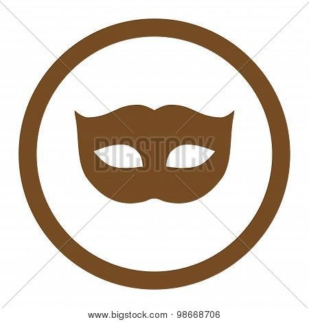 Privacy Mask flat brown color rounded vector icon