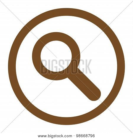 Search flat brown color rounded vector icon
