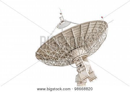 Satellite Dish Antenna Radar Big Size Isolated On White Background