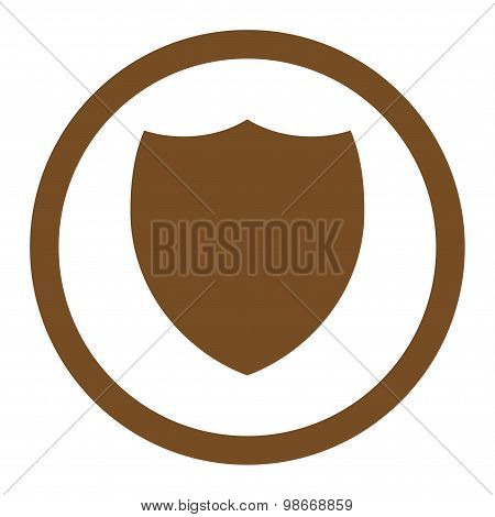 Shield flat brown color rounded vector icon
