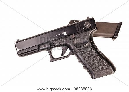 Handgun Used, Weapon Army Isolated On White Background