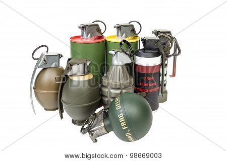 All Explosives, Weapon Army,standard Timed Fuze, Hand Grenade On White Background