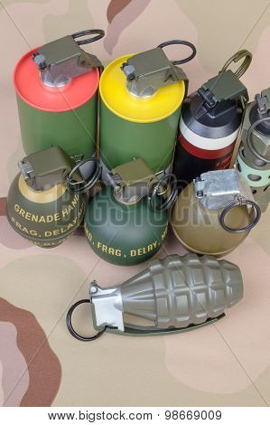 All Explosives, Weapon Army,standard Time Fuze, Hand Grenade On Camouflage Background, Top View