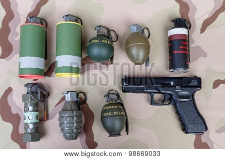 All Explosives, Weapon Army,standard Time Fuze, Hand Grenade And Gun On Camouflage Background, Top V