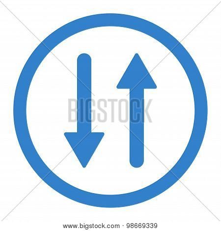 Arrows Exchange Vertical flat cobalt color rounded vector icon