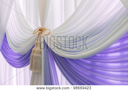 Luxury Sweet White And Violet Curtain And Tassel