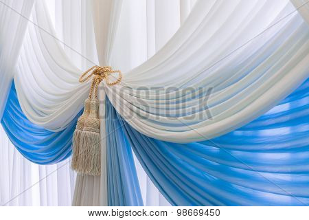 Luxury Sweet White And Blue Curtain And Tassel