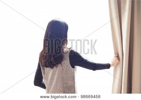 Asian Portrait Beautiful Woman Opening Curtains On White Background