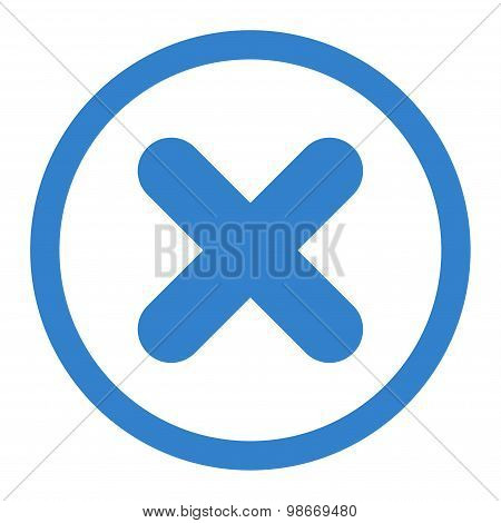 Cancel flat cobalt color rounded vector icon