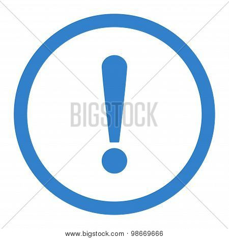 Exclamation Sign flat cobalt color rounded vector icon