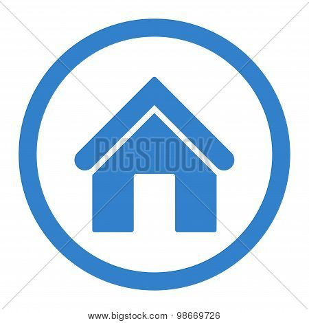 Home flat cobalt color rounded vector icon