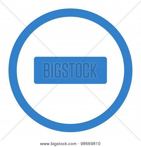 Minus flat cobalt color rounded vector icon