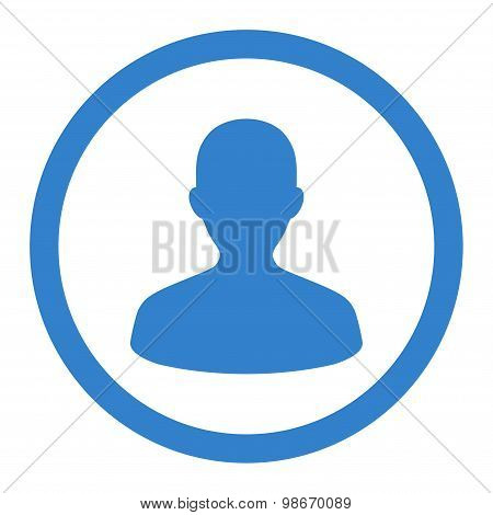 User flat cobalt color rounded vector icon