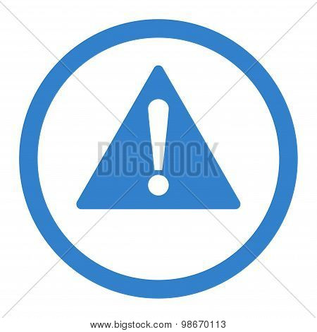 Warning flat cobalt color rounded vector icon