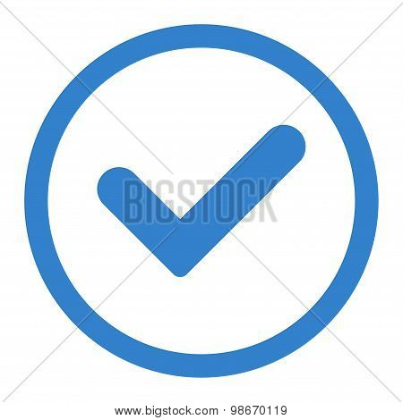 Yes flat cobalt color rounded vector icon