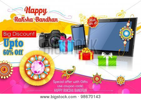 illustration of decorative rakhi for Raksha Bandhan sale promotion banner
