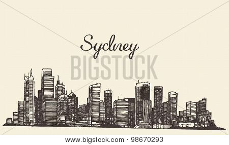Sydney skyline engraved hand drawn sketch