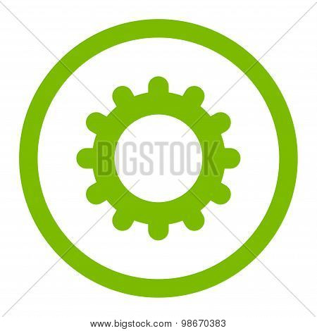Gear flat eco green color rounded vector icon