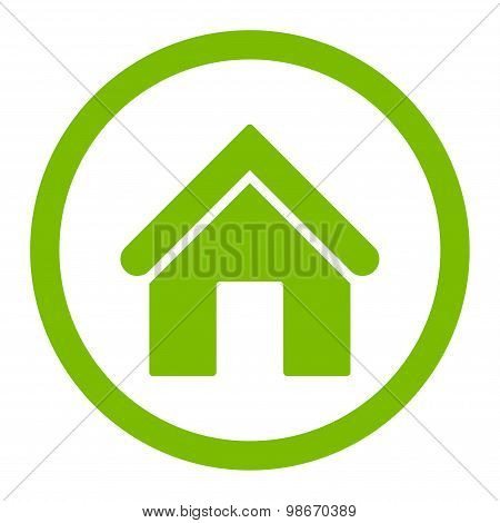 Home flat eco green color rounded vector icon