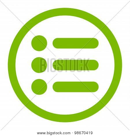 Items flat eco green color rounded vector icon