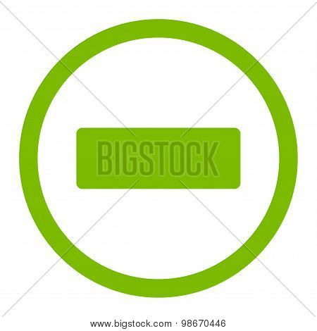 Minus flat eco green color rounded vector icon