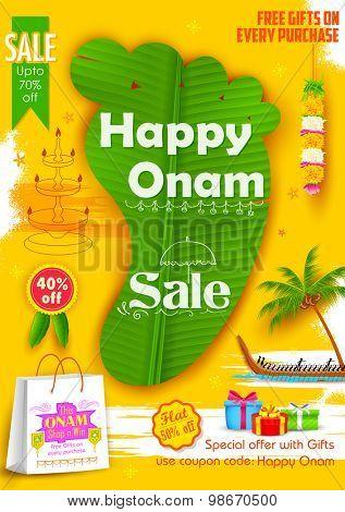 illustration of King Mahabali's feet shaped banana leaf in Onam Sadya sale background
