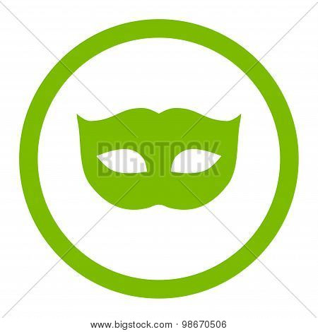 Privacy Mask flat eco green color rounded vector icon