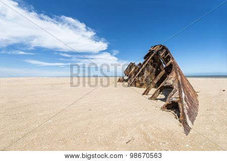 Famous Beach El Barco With Rusty Barge In Uruguay